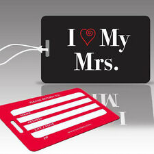 TagCrazy Wedding Luggage Tags, I Love My Mrs., Durable Plastic Loops- 1 Pack
