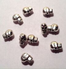 SILVER PLATED SKULL BEADS -- Halloween, Jewelry Making, Crafting -- 8mm -- 10pcs