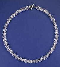 Natural clear faceted 8mm crystal bead sterling silver necklace NKL240009 -16""