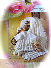Large Print Knitting Patten Instructions for Baby's Shawl Matinee Coat & Shoes
