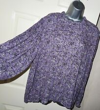 NEW Womens🦋MARKS&SPENCER🦋purple mix flower pattern crinkle blouse size 20