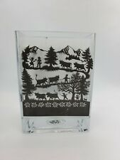 "Vtg Esther Gerber Swedish Mini Glass Lantern Black Clear Sketch 5 1/2""W 5 1/2""H"