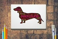 Dachshund Word Art Canvas A4 A3 A2A1 Mothers Day Gift Personalised Option