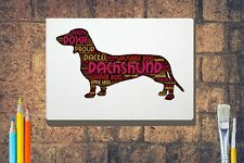 More details for dachshund word art canvas a4 a3 a2a1 mothers day gift personalised option