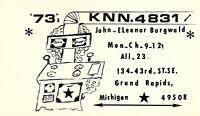 Vintage QSL Postcard  KNN 4831 Grand Rapids, Michigan  John Eleanor Burgwald -T-