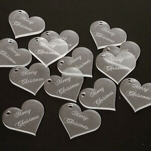 Merry Christmas Gift Tags, 4cm Frosted Clear Acrylic Hearts Festive Decorations.