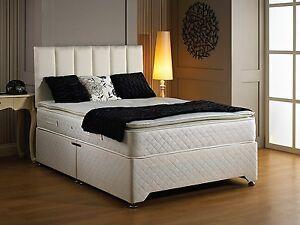 King Size Pillow Top Divan 28cm Deep Mattress 2 Drawers and Headboard