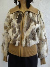 MINT RABBIT FUR JACKET COAT W/ CLOTH TRIMS WOMEN WOMAN SIZE 10 MEDIUM