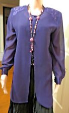 Purple Ladies Long Sleeved see-thru open blouse with shoulder detail size 10
