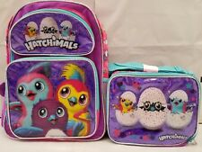 "Hatchimals 16"" inches School Backpack & Lunch Box for Girl New Licensed Product"