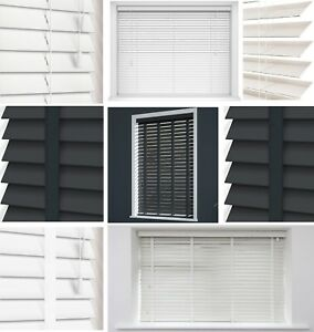 Fauxwood Venetian Blinds Easy Fit Home Office Blind 50mm Slats Trimable All Size