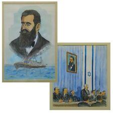 HERZL & BEN GURION 2 Painting 1948 by M. Aryeh מ. אריה Israel Jewish Art Judaica