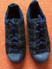 Adidas Blue Suede Superstar Uni Sex Trainers UK Size 4 - Worn Twice - FREE P & P