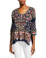 Johnny Was Womens Top XS Embroidered Sandra Embroidered Blue Boho Casual