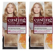 2 x LOREAL CASTING CREME GLOSS HAIR COLOUR 801 SILKY BLONDE BRAND NEW