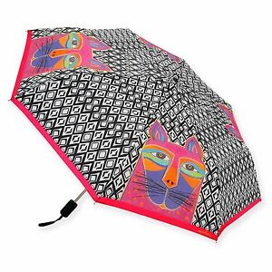 Laurel Burch Whiskered Cats Black Wh Brights Compact Umbrella Auto Open Close