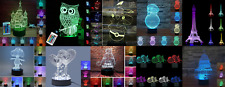 3D Illusion Lamp Night Light 7 Color Change LED Desk Table Lamp Toy Gift with Re