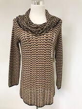 NWT Jones New York Tan Black Cowl Neck Zig Zag LS Knit Tunic Sweater SZ M  $89
