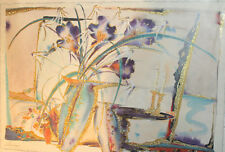 Modernist still life watercolor/collage painting signed