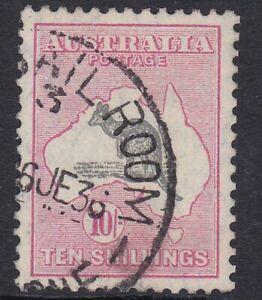 K1322) Australia 1932 10/- Grey & Pink Kangaroo C of A wmk. Variety