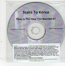 (ET837) Stairs To Korea, - Paul, Is This How You Wanted It? - 2010 DJ CD