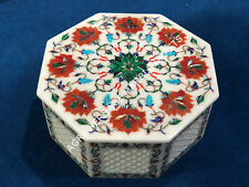 Filigree Marble Jewelry Storage Trinket Box Collectible Floral Inlay Decor E461