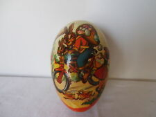 Vintage German Candy Container Paper Mache Easter Egg Rabbit On Motorcycle