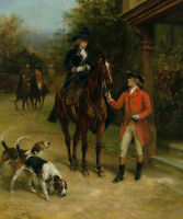 HUNTING MOM LADY SIDESADDLE RIDING HORSE HOUNDS PAINTING BY HEYWOOD HARDY REPRO