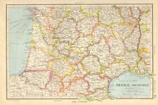 Antique Map 1947 Bartholomew France, South-West