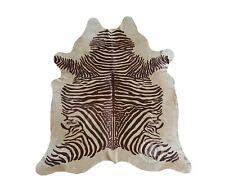 New Brazilian COWHIDE RUG Spine ZEBRA Brown Stripes on Beige 6'x7' Cowhide Rug