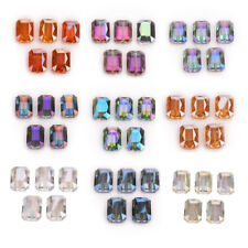 20pcs Square Glass Rectangle Wholesale 14mm Crystal Faceted Charms Loose Beads