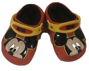 Disney Mickey Mouse Crocs Child Toddler Size C7 Shoes Red with Face