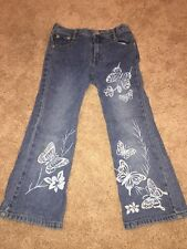 Girls Sz L (6) Flare Airbrushed Butterfly Jeans By Squeeze NY Stretch Waist DB4