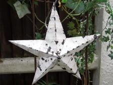 Mano hecha a mano Shabby Vintage Chic Amish Estaño Barn Star Original pintura blanca de Chippy