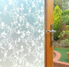 90 CM x 3 M - WHITE FLORAL Removable Frosted Window Glass Film for privacy