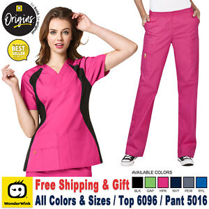 WonderWink Scrubs Set ORIGINS Women's V-Neck Top & Waistband Pant 6096/5016
