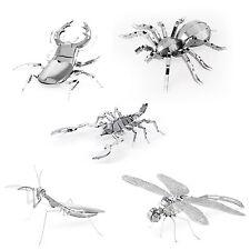 Set of 5 Metal Earth Kit Scorpion Stag Beetle Tarantula Praying Mantis Dragonfly