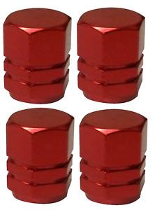 Red Dust Caps Metal Hexagonal High Quality Aluminium Pack of 4 Caps