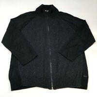 Calvin Klein Jeans Zip Up Sweater Men's 2XL XXL Long Sleeve Black Knit Cotton