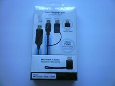 3 In 1 Charging Cable Iphone Ipad Ipod Light Pulse Android Black MicroUSB USB C