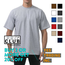 PROCLUB PRO CLUB MENS PLAIN T SHIRT HEAVYWEIGHT SHIRTS SHORT SLEEVE TEE BIG TALL