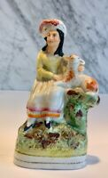 Antique Staffordshire Figurine of Girl with Lamb