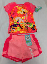 Girls Skechers Active Wear Shorts & Top, Pink Bloom/Spring Flower, Size 4  NWT