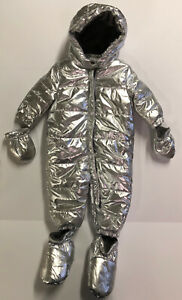 NWT Gymboree Baby Girl Infant Clothes Silver Snowsuit Mittens Shoes Hood MSRP$68