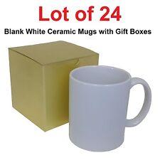 Lot of 24 Coffee Mugs 11oz Ceramic White DIY Mug Blank INCLUDES Gold Gift Boxes
