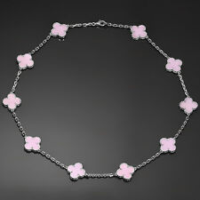 VAN CLEEF & ARPELS Alhambra Pink Opal White Gold 10 Motif Necklace Box Papers