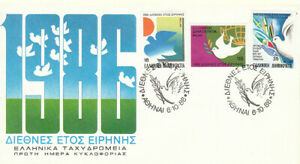 Greece. INTERNATIONAL YEAR OF PEACE 1986 Sun & Dove Doves with olive branch, FDC