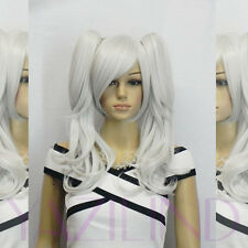 Long straight wavy silver white two clip-on ponytail cosplay hair full wig