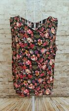 ATMOSPHERE Women's Black Floral Print Sleeveless Summer Cami Blouse Top Size 12
