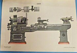 Antique affiche Scolaire à système Machine Industriel un Tour en vue éclaté